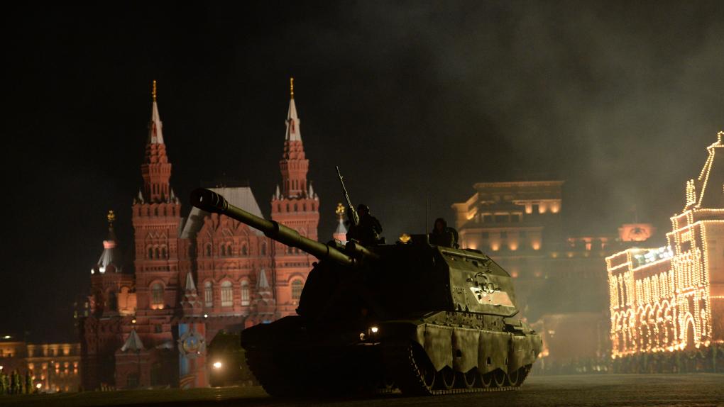 Красная площадь в Москве. Репетиции военного парада 3 мая 2017 года.