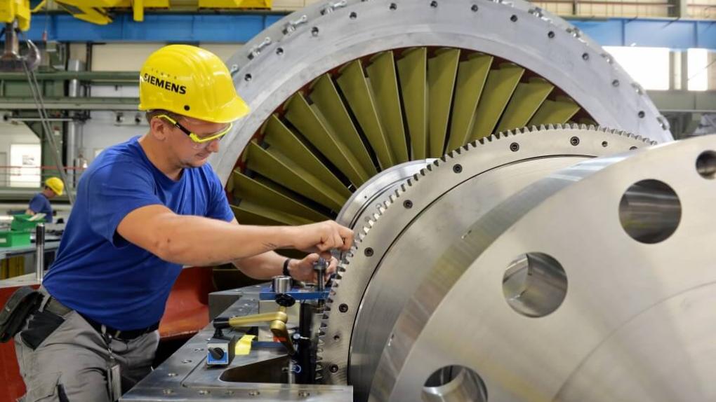 Работа газотурбинного завода Siemens AG в Берлине