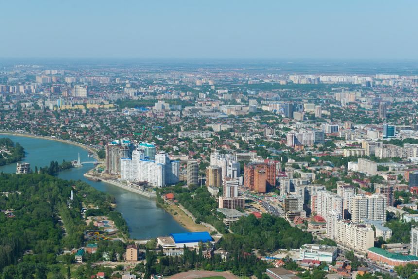 Вид на город Краснодар с высоты птичьего полета