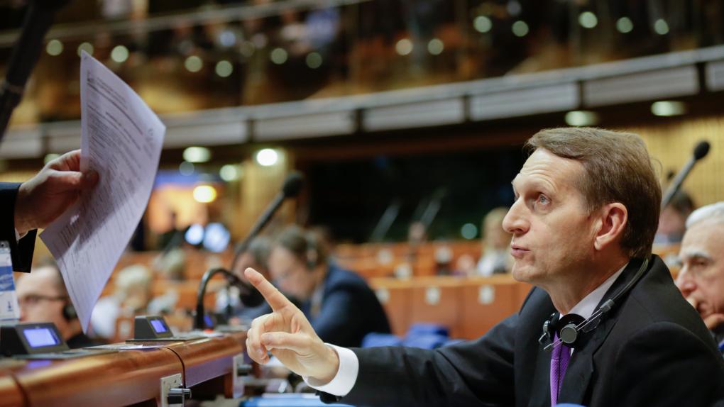 Спикер Госдумы РФ Сергей Нарышкин на пленарном заседании Парламентской ассамблеи Совета Европы