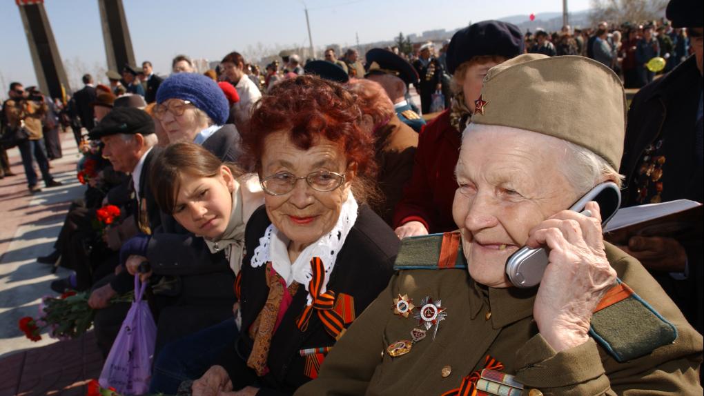 Ветераны во время празднования Дня Победы