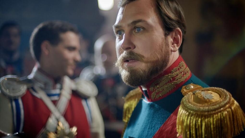 Актер Ларс Айдингер в роли Николая II во время съемок фильма