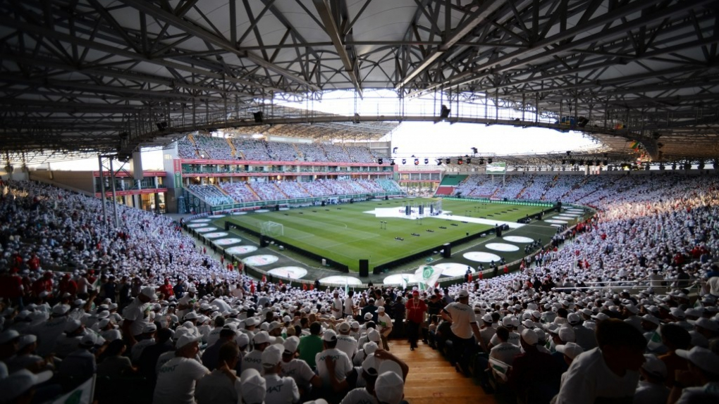 "Болельщики на трибунах стадиона ""Ахмат-Арена"""