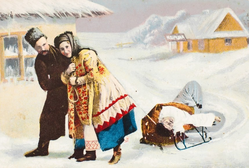 Дореволюционная открытка. Мужчина и женщина везут пьяного мужика по деревне