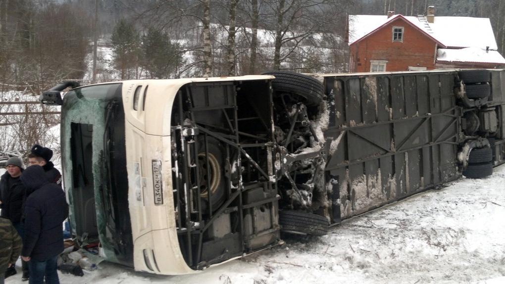 ДТП с экскурсионным автобусом в Карелии. Январь, 2017 г.