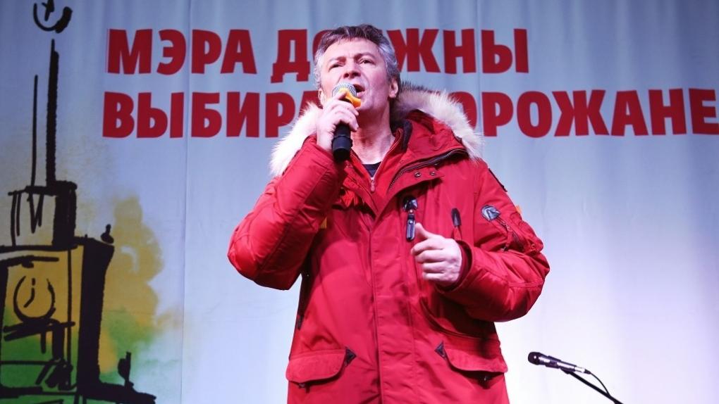 Мэр Екатеринбурга Евгений Ройзман во время митинга против отмены прямых выборов главы города. 2 апреля 2018 г.