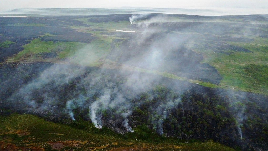 Лесные пожары в тундре в районе села Териберка Кольского района Мурманской области